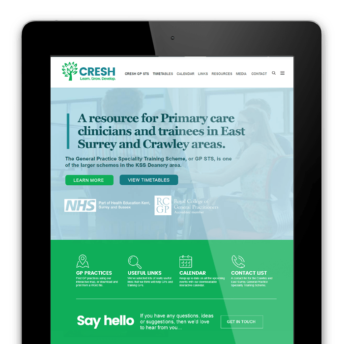 CRESH NHS Training - Website design and hosting