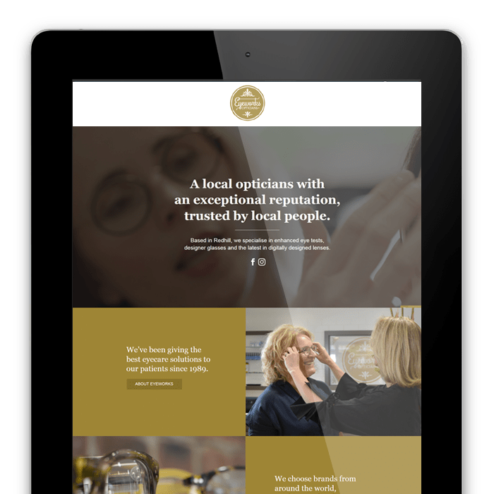 Eyeworks Opticians Redhill - website redesign and video