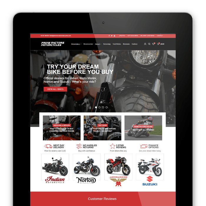 Prime Factors Motorcycles Redhill - Website redesign, SEO, email marketing