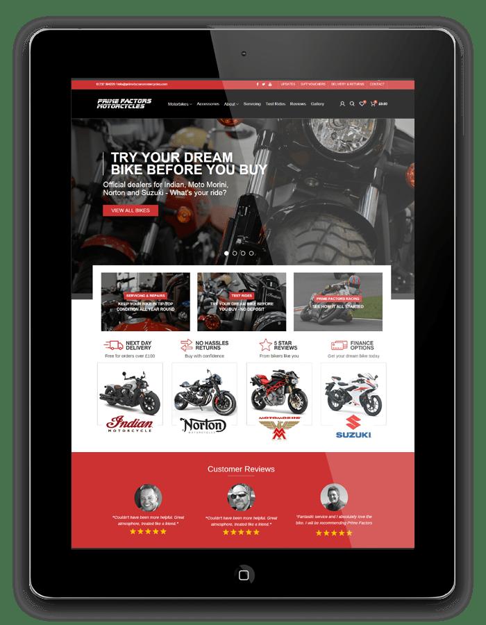 Website design for Prime Factors Motorcycles in Redhill, Surrey