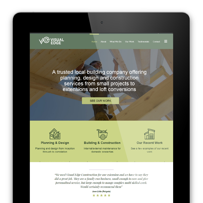 Visual Esge Construction, Reigate - Website design example